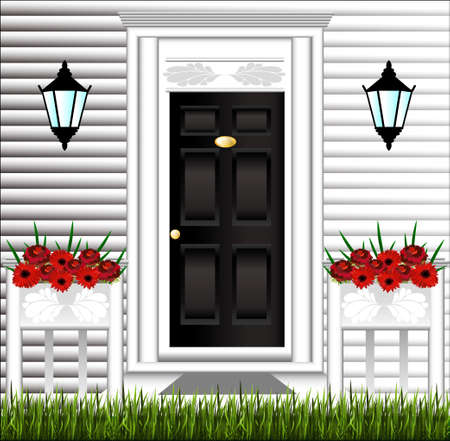 front door: View of the front door, a cute flower pot and a lawn at the house.