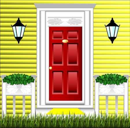 View of the front door, a cute flower pot and a lawn at the house. Vector