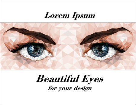 ojos azules: Ojos hermosos hechos de polígonos. Vector imagen.