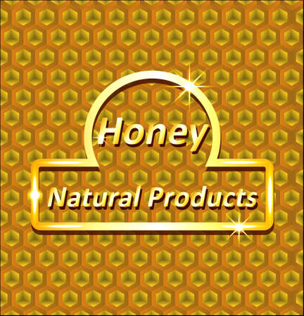 Abstract background of honeycombs with a gold label