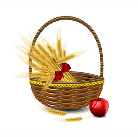 sheaf: Sheaf of wheat ears in a wicker basket with red apples Illustration
