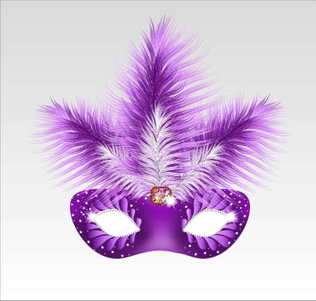 venetian mask: Elegant carnival mask with beautiful feathers. Vector illustration.