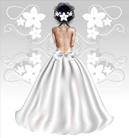 wedding dress back: Elegant bride in a white dress with a neckline. Rear view. Vector illustration.
