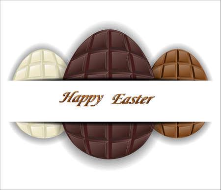 kinds: Three kinds of chocolate Easter eggs. Vector illustration. Illustration