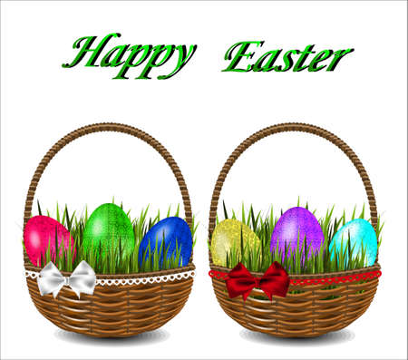 wicker basket: Colorful Easter eggs in a wicker basket with a bow.