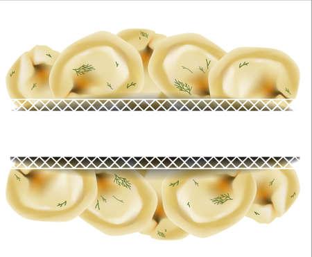 Delicious dumplings. Russian dumplings. Italian ravioli. Vector illustration.