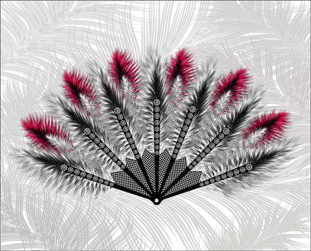 carnaval: Elegant fan made of beautiful feathers.