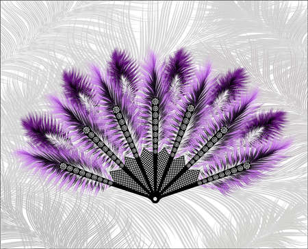 purim carnival party: Elegant fan made of beautiful feathers.