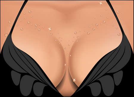 big boobs: Mama de la mujer hermosa en gotas de agua. Ilustraci�n del vector.