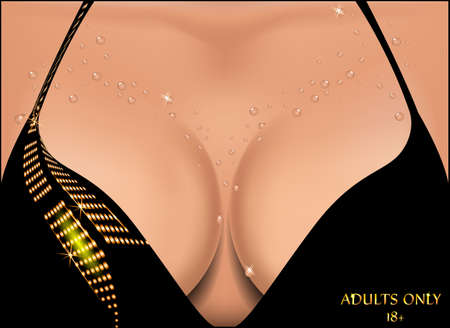 breast implant: Beautiful female breast in water droplets. Vector illustration.