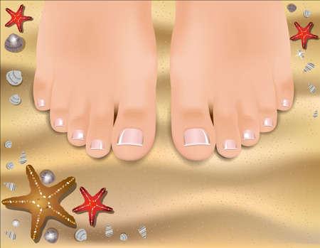 sandy feet: Beautiful female feet with a pedicure on a sandy beach. Illustration