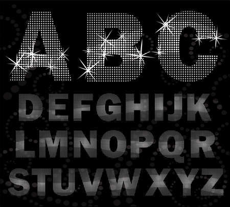 black and silver: Creative halfton font style. Glowing alphabet halfton style. Illustration