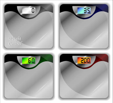 lowfat: Bathroom scales of different kinds. Vector illustration.