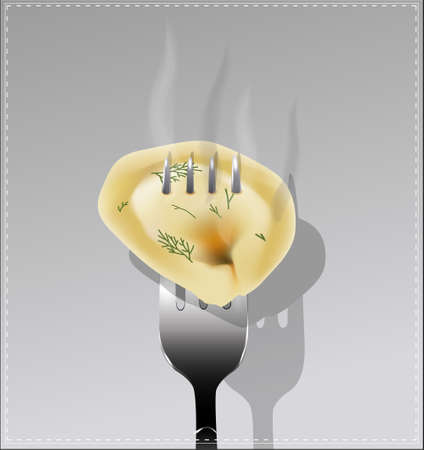 Delicious dumpling on a fork. Vector illustration. Stock Vector - 41853396