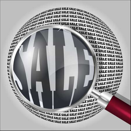 barter: Magnifying glass over the word SALE. Vector illustration.