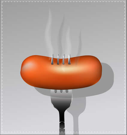 wiener: Delicious sausage on a fork. Vector illustration. Illustration