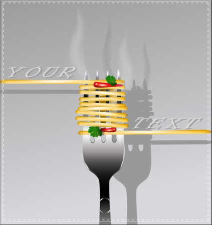 Espaguetis deliciosos en un tenedor. Ilustración del vector.