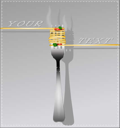 melted cheese: Delicious spaghetti on a fork. Vector illustration.