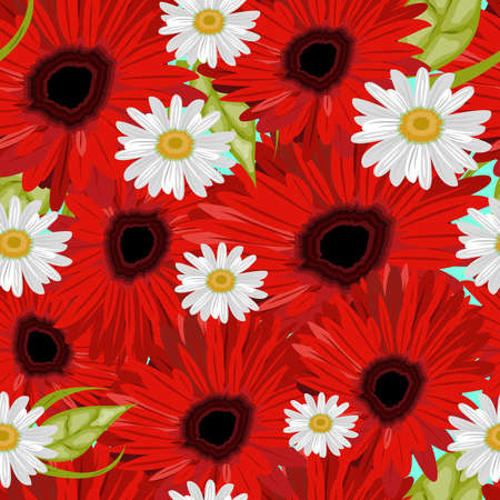 orange gerbera: Flower seamless pattern with daisies and gerbers. Vector illustration.
