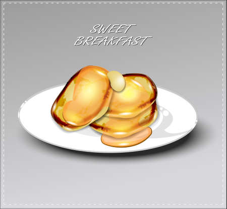 Delicious pancakes with honey on white plate. Vector illustration.
