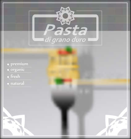 melted cheese: Blurred background with spaghetti on a fork. Vector illustration. Illustration