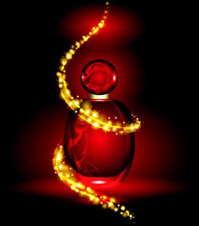 fragrances: Elegant womens fragrances in a wonderful glow. Vector illustration.