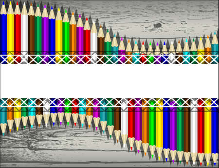 old letter: Back to School background with colored pencils. Vector illustration.