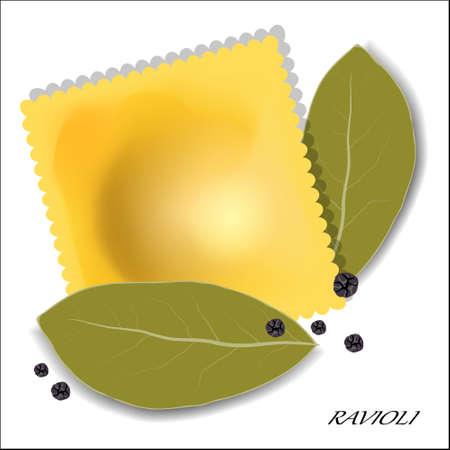 allspice: Italian ravioli with spices. Isolated. Vector illustration.
