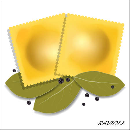 Italian ravioli with spices. Isolated. Vector illustration.