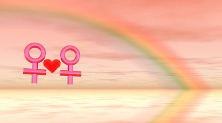 homosexuality: two lesbians in love with a red heart between them and a rainbow behind