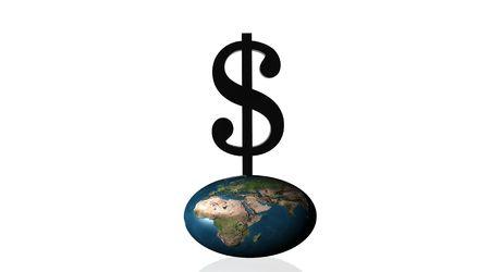 Black dollar squashing earth Stock Photo - 5392295