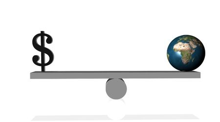 Black dollar in balance with earth Stock Photo - 5392291