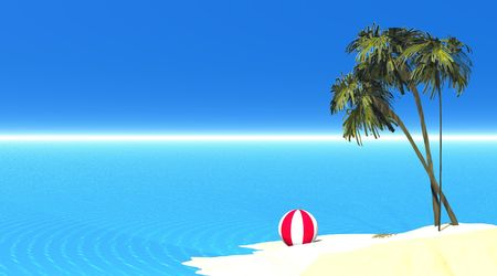 Island with sand, palmtree, balloon and transparent sea
