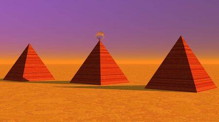striated: Three red striated pyramids in desert Stock Photo