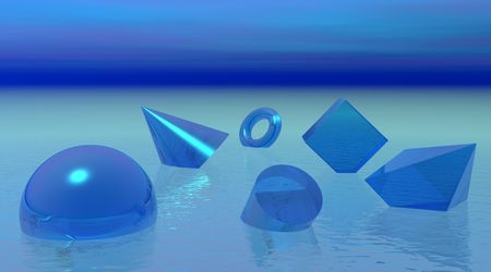 Shapes drowning in blue ocean Stock Photo - 5519309