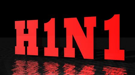 H1N1 virus written in red with black background Stock Photo - 5519313
