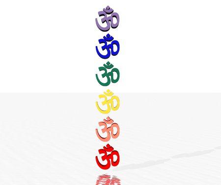 hinduismo: Aum color  om en chakra columna