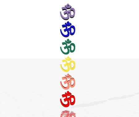 Colored aum  om in chakra column photo