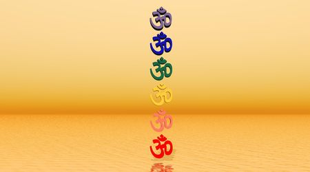 Colored aum  om in chakra column in orange background photo
