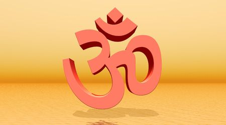 yogini: Orange aum  om in orange background Stock Photo