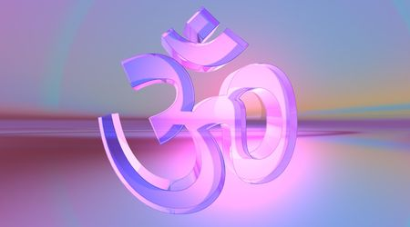 Transparent aum  om in colored background photo