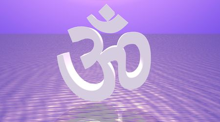 White aum / om in violet background Stock Photo - 5519333