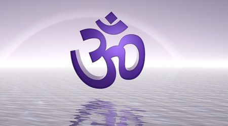 yogini: Violet aum  om upon the sea and with a rainbow behind
