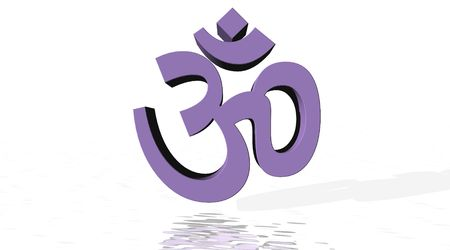 Violet aum  om with little reflect in white background photo