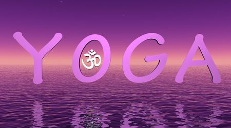 3d aum: Violet yoga on the sea with little aum  om in O letter