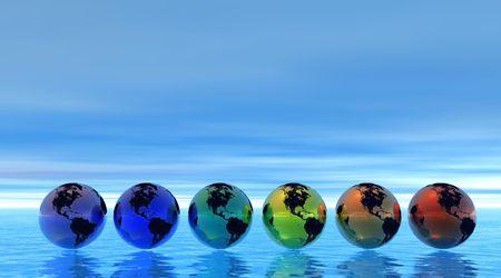 Rainbow earth on sea photo