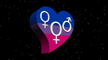 Bisexual woman in flag color heart in stary night Stock Photo - 5775959
