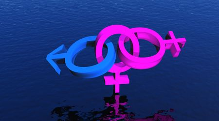 Bisexual woman upon ocean
