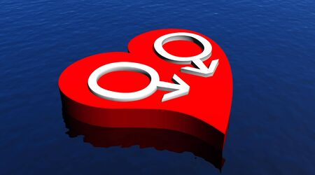 homosexual sex: Gay men couple in red heart floating in the ocean