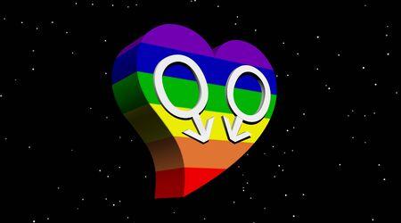 Pareja de hombres gay en el coraz�n de color arco iris en la noche Starii  Foto de archivo - 5775969